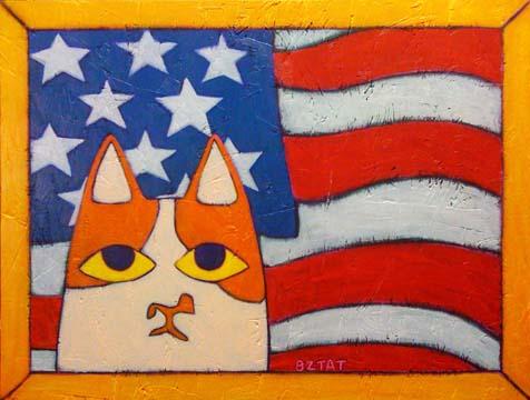 Brewskie-butt-ginger-white-cat-patriotic-flag